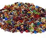 2 kg Set di perline di vetro, per bambini, per infilare, in pellicola d'argento, con perline di vetro lucidate a fuoco, rotonde, ovali, colorate, per creare gioielli
