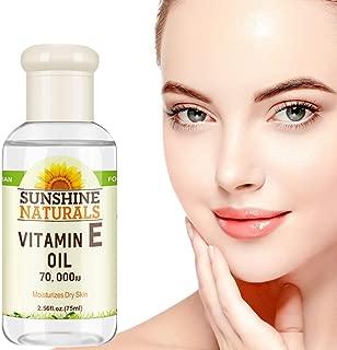 Reddhoon Vitamin E Oil 70,000 IU, 2.56 fl oz Pure Vitamin E Oil for Moisturizing Hydrating Dry Dull Skin Lightening Fine Lines Tightening Skin Care