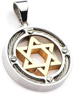 Gold Star of David Necklace for Men   Stainless Steel Modern Mens Pendant