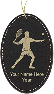 LaserGram Faux Leather Christmas Ornament, Tennis Player Man, Personalized Engraving Included (Black Oval)