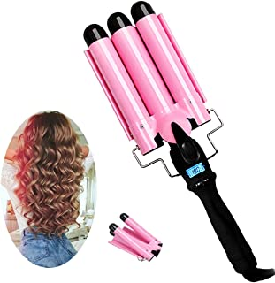 3 Barrel Curling Iron with LCD Temperature Display - 1 Inch Ceramic Tourmaline Triple Barrels,...