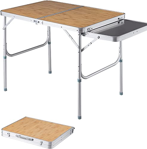 Giantex 4FT Folding Picnic Table, Aluminum Light Weight Table, with Extra Table and Leg Extension, Outdoor Camping Tables for Patio Lawn Yard, Portable Indoor Outdoor Desk Fold-in-Half Size