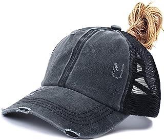Criss Cross Ponytail Baseball Cap for Womens Men Adjustable Dad Trucker Mesh Hat