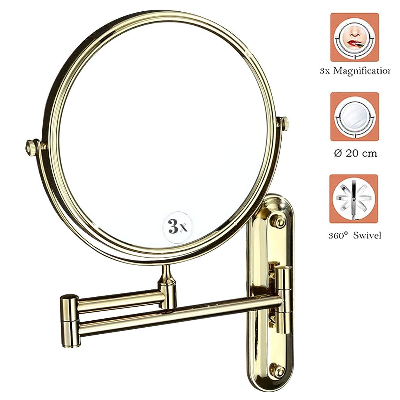 ドラムマグ真面目な拡大鏡付き壁掛け化粧鏡、壁掛け化粧鏡3x、両面シェービングミラースイベルバスルームミラービューティーミラー360°自由回転、丸型、設置が簡単、金色