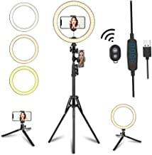 """$67 » 10.2"""" LED Selfie Ring Light with Tripod Stand & Phone Holder for Live Streaming & YouTube Video, Dimmable Makeup Ring Light for Photography, Shooting with 10 Brightness Level & 3 Light Modes"""