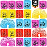 Mega Pack Of 50 Coil Springs - Assorted Emoji Silly Faces And Colors, Mini Spring Toy For Party Favor, Carnival Prize, Gift Bag Filler, Stocking Stuffers