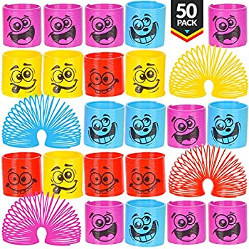 Mega Pack Of 50 Coil Springs - Assorted Emoji Silly Faces And Colors Mini Spring Toy For Party Favor Carnival Prize Gift Bag Filler Stocking Stuffers