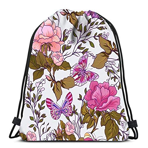 Drawstring Backpack Patterns with Rose Flowers and Butterflies In Pink Green Colors Durable for Carrying Around