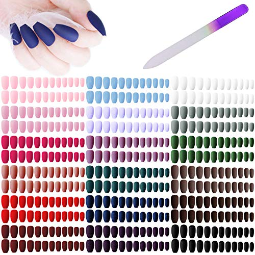 editTime 18sets/432pcs Solid Colors Matte Acrylic Ballerina Coffin False Nails Full Cover Press on Natural Medium Fake Nails Tips with a Crystal Glass Nail File (Ballerina Coffin Fake Nails)