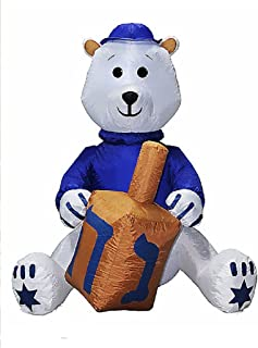 Hanukkah Inflatable Bear W/Yamaka Holding Dreidel