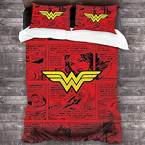 HUA JIE Funda De Edredón Cuna Juego Edredón 3 Piezas Wonder Woman 100% Microfibra Ropa Cama Decorativa Ultra Suave Lujo 2 Fundas Almohada