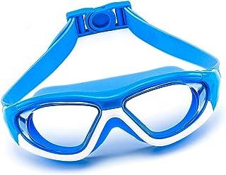 HUI JIN - Big Frame - Gafas de natación para niños y niñas de 6 a 15 años, color azul oscuro