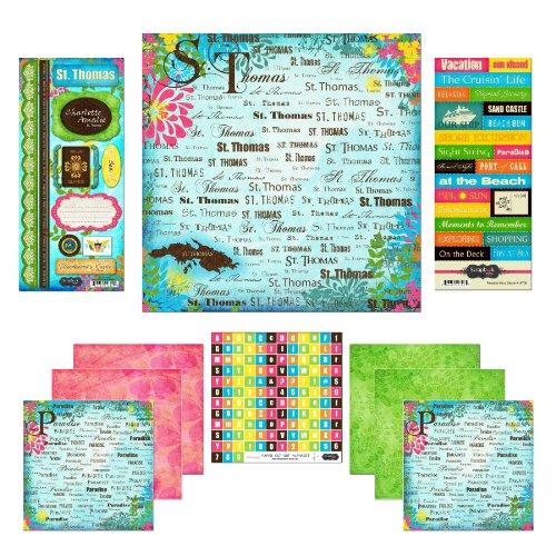 Scrapbook Customs, Inc. Recortes aduanero con Papel y Pegatinas de Recortes Kit, St. Thomas paraíso