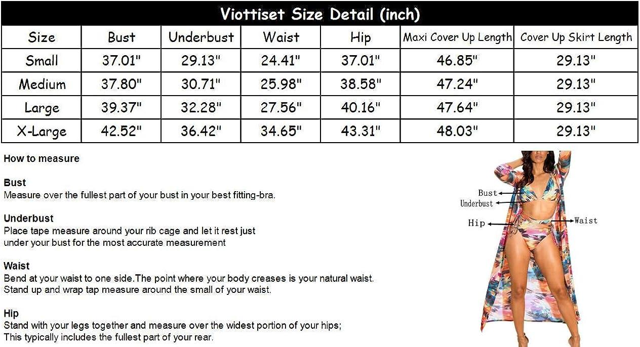 Viottiset Women's Printed 3 Pieces High Waist Bikini Maxi Swimsuit Cover up