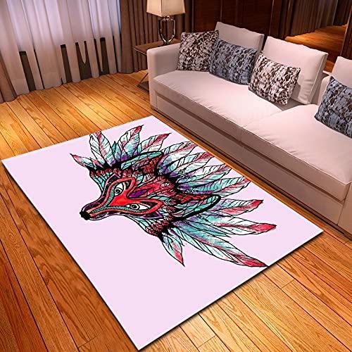 ydlcxst Alfombra De Dibujos Animados Cabeza De Lobo Colorida Alfombra De Impresión 3D Alfombra De Sala De Estar Alfombra De Dormitorio 180X180Cm
