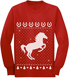 Horse Lovers Xmas Holiday Outfit Ugly Christmas Toddler/Kids Long Sleeve T-Shirt