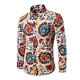 Camisa Impresa Casual para Hombre Camisas de Manga Larga de Paisley Funky con Estampado de Lino Camisa de Vestir con Botones Botones Patrón único Tipo 11 L