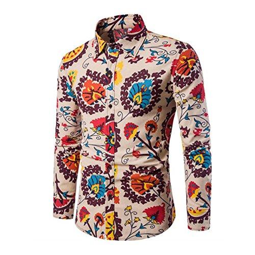 Camicia Elegante da Uomo Camicia Elegante a Maniche Lunghe in Lino Stampato Camicia Casual Fantasia Floreale Tops Pattern Unico cs11 M