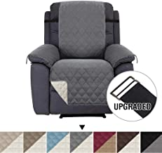 H.VERSAILTEX Reversible Sofa Slipcover Water Repellent Sofa Cover Couch Covers for Dogs Furniture Protector, 2 Inch Wide Elastic Straps Anti-Slip Couch Slipcover (Recliner: Grey/Beige)