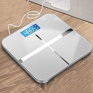 HJTLK Báscula de baño Digital, báscula de Peso Corporal Digital de Alta precisión, Vidrio Templado, Pantalla LCD, Alta precisión - Plata 180 kg