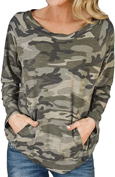 TIANRUN Women S Round Collar Camouflage Printing Hatless Long Sleeves With Pocket Sweatshirts Tunic Tops