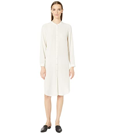 Eileen Fisher Silk Crepe De Chine Mandarin Collar Knee Length Shirtdress (Bone) Women