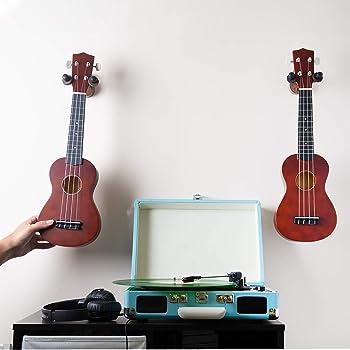 Guitar Ukulele Wall Mount Hanger - 2 Pack Hook Holder for Ukelele, Bass, Electric, Acoustic Guitar, Violin, Banjo and...