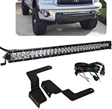 DaSen For 31 Inch 150W Single Row Straight LED Light Bar w/Front Bumper Mount Brackets & Wiring Kit Fit 2014-2019 Toyota Tundra