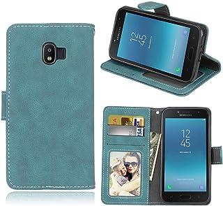 Sangrl Libro Funda para Samsung Galaxy Grand Prime Pro / J2 Pro 2018 / J2 2018 / J250, PU Cuero Cover Flip Soporte Case [Función de Soporte] [Tarjeta Ranuras] Cuero Sintética Wallet Flip Case Azul