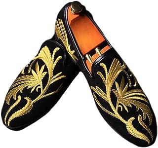 Fulinken Men s Fashion Velvet Slip-on Shoes Round Toe Mens Casual  Embroidered Loafers 7749e10cc27d
