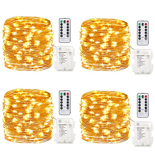 GDEALER 4 Pack Fairy Lights Fairy String Lights Battery Operated Waterproof 8 Modes 50 LED 16.4ft String Lights Copper Wire Firefly Lights Remote Control Christmas Deco Lights Warm White