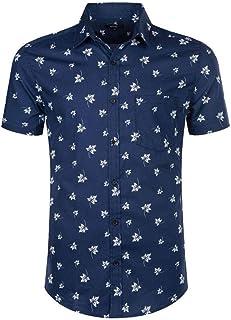 Mens Print Shirt Casual Short Sleeve Regular-fit Cotton Shirts