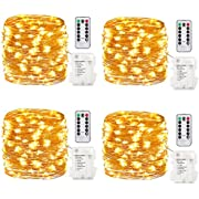 GDEALER TS11 4 Pack 16.4 Feet 50 Led Fairy Lights Battery Operated with Remote Control Timer Waterproof Copper Wire Twinkle String Lights for Bedroom Indoor Outdoor Wedding Dorm Decor Warm White