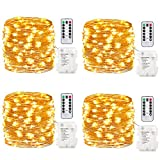 GDEAER TS11 4 Pack 16.4 Feet 50 Led Fairy Lights Battery Operated with Remote Control Timer Waterproof Copper Wire Twinkle String Lights for Halloween Bedroom Indoor Outdoor Wedding Dorm Warm White