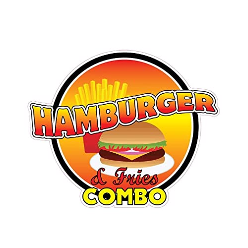 Hamburger& Fries Combo Concession Decal Sign Restaurant Food Truck Vinyl Sticker 10 inches