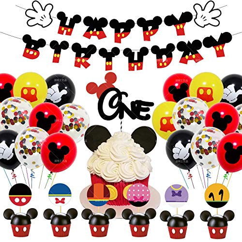 shengping Original Mickey Thema Dekoration Geburtstag Anzug Mickey Mouse Flagge Kuchen Anordnung Ballon Set Baby Party