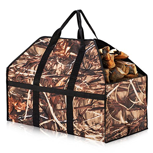 Herron Log Carrier Large Capacity Extra Strong and Durable Fabric Firewood Carrier Strong Handle amp Avoid Wood Debris on The Floor Firewood BagBrown