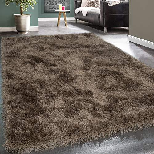 Paco Home Moderner Wohnzimmer Shaggy Hochflor Teppich Soft Garn In Uni Braun Beige, Grösse:120x170 cm