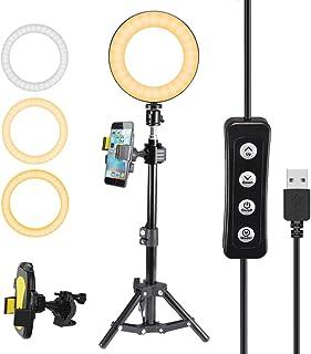 """Openuye 6"""" Anillo de Luz LED 3000K-6000K Luz Anillo LED Regulable con Soporte Luz para Fotografía Aro de Luz con Trípode y Soporte para Teléfono para Maquillaje Selfie Transmisión en Vivo"""