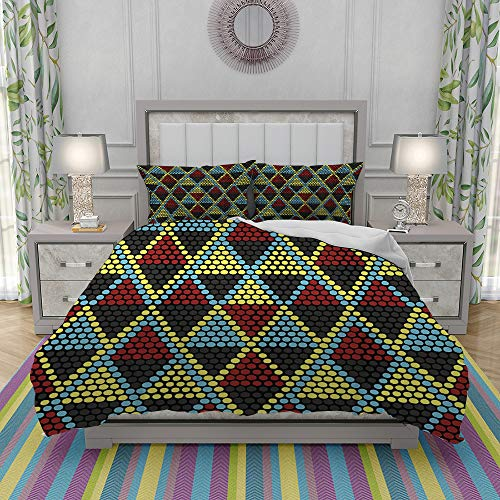 VICCHYY Duvet Cover Set-Bedding,African Beaded Ornament Seamless Pattern Hand Drawn,Quilt Cover Bedlinen-Microfibre 200x200cm with 2 Pillowcase 50x80cm