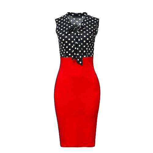 89316dcfe7 CISMARK Women's Chic Color Block V-Neck Sleeveless Office Pencil Dress