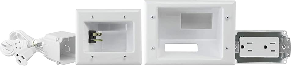 DataComm Electronics 45-0024-WH Recessed Pro-Power Kit with Duplex Receptacle and Straight Blade Inlet