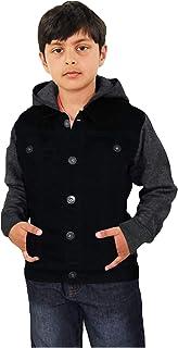 Kids Boys Denim Jet Black Jacket Fleece Sleeves & Hood Fashion Jacket Coat 2-13Y