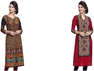 Jevi Prints Women's Dress Material (Pack of 2)(Saheli-1632&Saheli-1612_Item 1 Color Black|Item 2 Color Red_Free Size)