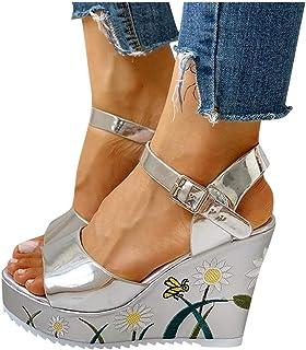 Padaleks Wedge Sandals for Women,Ladies Platform Summer Beach Ankle Strap Buckle Wedges Heels Pumps Dress Shoes
