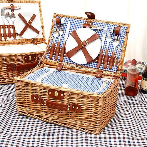KOSIEJINN Juego de cesta de pícnic, cesta de mimbre para 4 personas con manta impermeable para pícnic, cestas de pícnic, juego de cesta de picnic con cubiertos