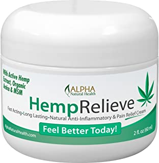Organic Hemp Extract Pain Relief Cream Plus Arnica and MSM