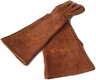 Rose Pruning Gloves for Men and Women. Thorn Proof Goatskin Leather Gardening Gloves with Long Cowhide Gauntlet to Protect Your Arms Until The Elbow (Medium, Brown)