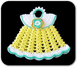 Agarradera amarillo y blanca en forma de vestido de ganchillo - Tamaño: 19.5 cm x 16.5 cm H - Handmade - ITALY