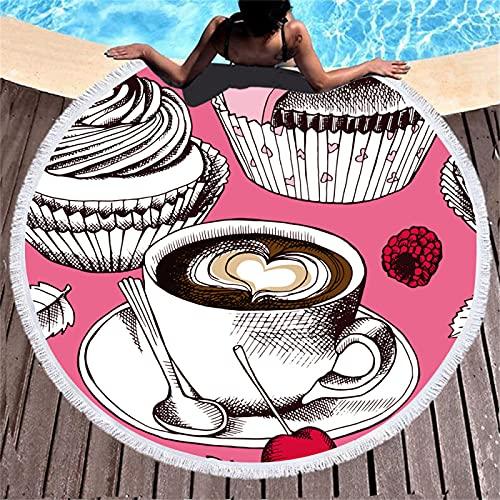 Toalla De Playa Redonda De Microfibra, Estampado De Frutas con Estampado Digital, Tapete De Playa De Secado Rápido A Prueba De Arena, Toalla De Piscina Súper Absorbente 150 * 150cm